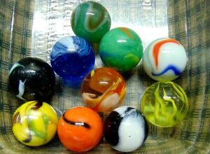 "Marbles Lot Of 10 Vintage Shooters Peltier Akro Agate West Virginia 1""-Dia"