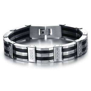 Black Silicone Silver Stainless Steel Chain Wristband Bracelet for Men Fashion