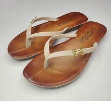 Women's Sandals Beige Slip-on Summer Flip Flops Size 9 Medium Width
