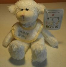 """Baby Boyds-Boyds Collection-Woolie-Bless Baby Bib-8"""" tall-New w/tags-2002"""