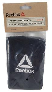 Reebok Sport Wristbands 1 Pair OSFM Black w/ White Logo Embroidered