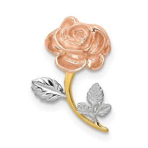 14k Yellow & Rose Gold with Rhodium Polished Rose Slide Pendant