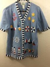 Quacker Factory Womens Sweater Blue Large Nautical Print Short Sleeves