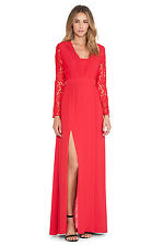 Alice by Temperley Red Long Macey Lace-Paneled Pleated Crepe Maxi Dress Size 6 *