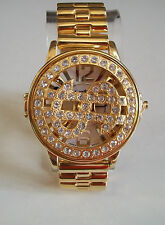 Gold finish men's spinner hip hop bling  $ sign rapper style fashion watch