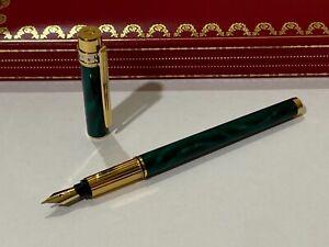 Must De Cartier Malachite Fountain Pen, Diabolo, Roadster, Santos, Vendome