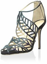 New JIMMY CHOO Kallai Blue Jeweled Suede Sandals/Heels Size 10 US/ 40 EU