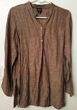 Eileen Fisher Petite Shirt Linen blend brown w/metallic shimmer Sz. PM