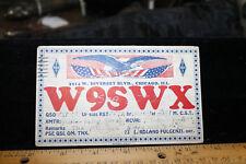 POSTCARD 1934 Ham Radio Calling Card QSL Chicago, ILL. W9SWX 1 Cent Stamp Eagle