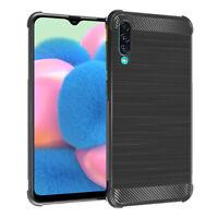 "Coque Etui Silicone Souple Fibre de Carbone Samsung Galaxy A30S 6.4"" SM-A307F"