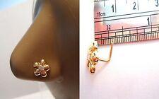 18k Gold Plated Nose Stud Pin Ring L Shape Post Petal Flower Clear CZ 20 gauge