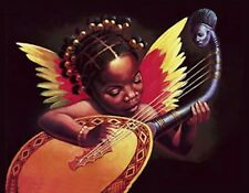 METAL MAGNET African American Girl Angel Musical Instrument MAGNET