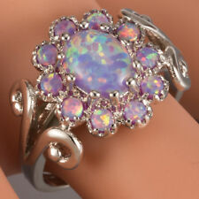 Flower 7x9 Oval Lavender Purple Fire Opal Cabochon Silver Ring Size 6 7 8 9 10