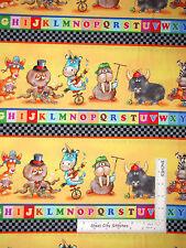 Alphabet Friends Animal Border Stripe MultiColor Cotton Fabric SPX #26389 - Yard