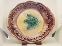 Antique Vintage Majolica Tray Plate Fern Leaf Pattern Art Pottery