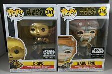Funko Pop Star Wars 340 Babu Frik + 341 C-3PO Figure Lot of 2