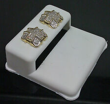 10K Men's Ladies Yellow Gold Diamond Earring With Cross 0.18CT
