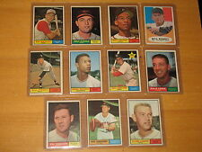 1961 Topps 11 Card Lot  #22 57 92 117 118 18183 205 225 251 295 418