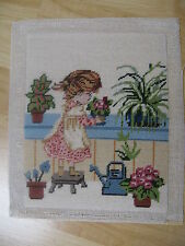 Finished Needlepoint Girl Watering Can Garden Greenhouse Completed 8x10 Vintage