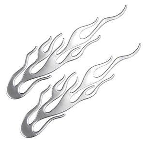 2x Flammen Silber Aufkleber Sticker 3D Auto Motorrad Flamme Feuer Tribal 20 cm