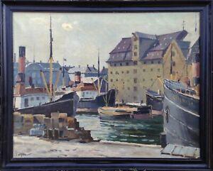 Einar Gross (1895-1960): BUSY HARBOR