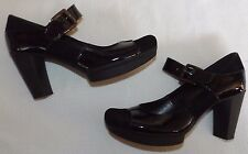 "CLARKS UK 6 EUR 39 BLACK PATENT LEATHER & SUEDE MARY JANE 3¼"" BLOCK HEEL SHOES"