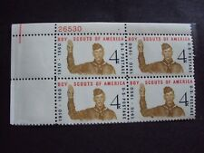4 BOY SCOUTS 4 CENT STAMPS (plate block) unused mint