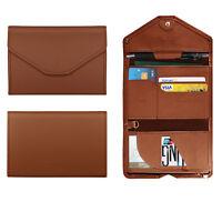 Unisex Leather Passport Case Cover Travel Wallet ID Card Holder Organizer Clutch
