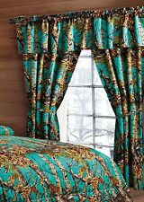 KING SIZE TEAL CAMO COMFORTER WITH CURTAINS!!  6 PC CURTAINS AND COMFORTER ONLY