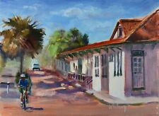 Urban Landscape Historical Railway painting Florida Palms Original Oil S Whitney