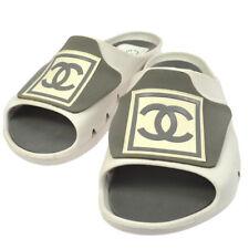 Authentic CHANEL Vintage CC Sports line Sandals Shoes White Rubber #39 GS01163
