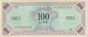 Italy, Allied Military Currency 100 Lire Banknote 1943 Very Fine Pick#SM-14A