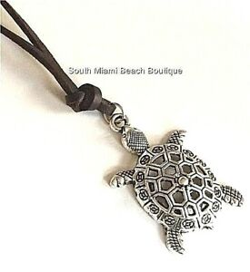 """Silver Sea Turtle Surfer Necklace 24"""" Filigree Brown X-Long Plus Size Plated"""