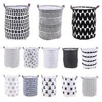 Foldable Large Canvas Washing Clothes Laundry Basket Bag Toys Hamper Household