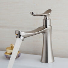 Brushed Nickel Bathroom Deck Mounted Basin Single Cold Water Only Faucet Taps