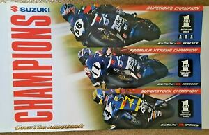 Vintage Poster 2003 Suzuki GSXR Champions Superbike Mladin Hayes Spies AMA