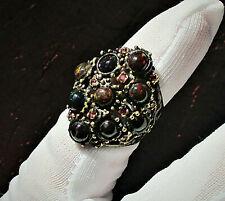Designer Ring schwarzer Feuer-Opal Turmalin 925 Sterling Silber Ringgröße: 55/56