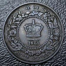 OLD CANADIAN COIN 1861 - NOVA SCOTIA ONE CENT - Victoria - Nice GRADE