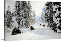 People on snowmobiles in Yellowstone Canvas Wall Art Print, Wyoming Home Decor