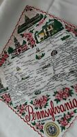 HANDKERCHIEF - VINTAGE - STATE OF PENNSYLVANIA - GREAT GRAPHICS!