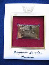 2006 Benjamin Franklin Statesman FDC FDI Replica 22kt Gold Golden Cover Stamp