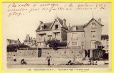 """cpa 50 - SAINT PAIR sur MER (Manche) VILLA """"Les Deux Roches"""" La PLAGE Animée"""