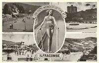 Vintage monochrome printed postcard Having A Wonderful Time At Ilfracombe