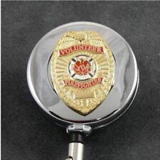 Volunteer Firefighter Fireman Retractable Security ID Card Badge Holder Reel