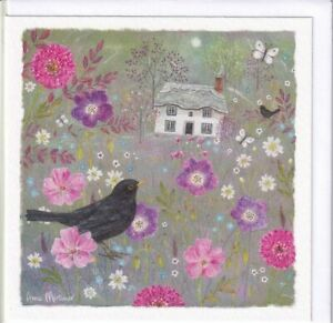 Blackbird And Thatched Cottage Greetings Card Anne Mortimer birthday blank