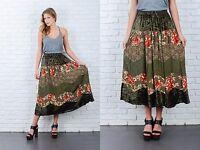 Vintage 90s Green Grunge Skirt Velvet Patchwork Floral Leaf Print Midi S M L