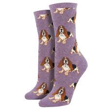 Socksmith Women's Crew Socks Basset Hound Dog Puppy Lavender Purple Footwear