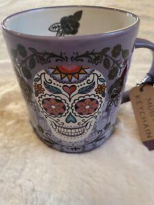DAY OF THE DEAD SUGAR SKULL Mug Cup Coffee Tea Prima Design With Keychain Charm