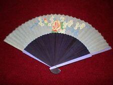 "Vintage Hand Fan Asian Floral Motif Light Green with 8"" Purple Handle"