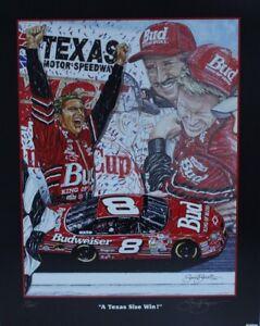 "Dale Earnhardt Jr 2001 "" A Texas Size Win "" Original Sam Bass Print 21"" X 27"""